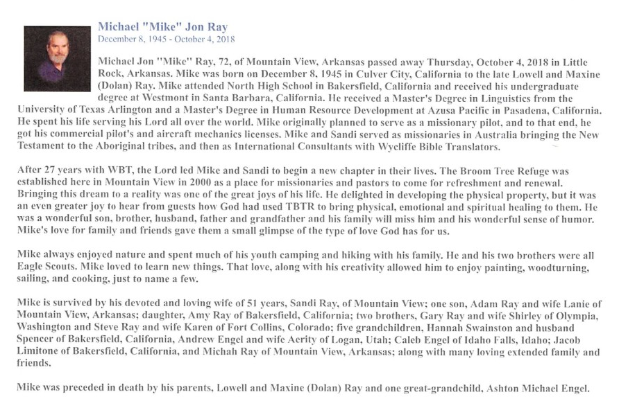 Michael Jon Ray Obituary